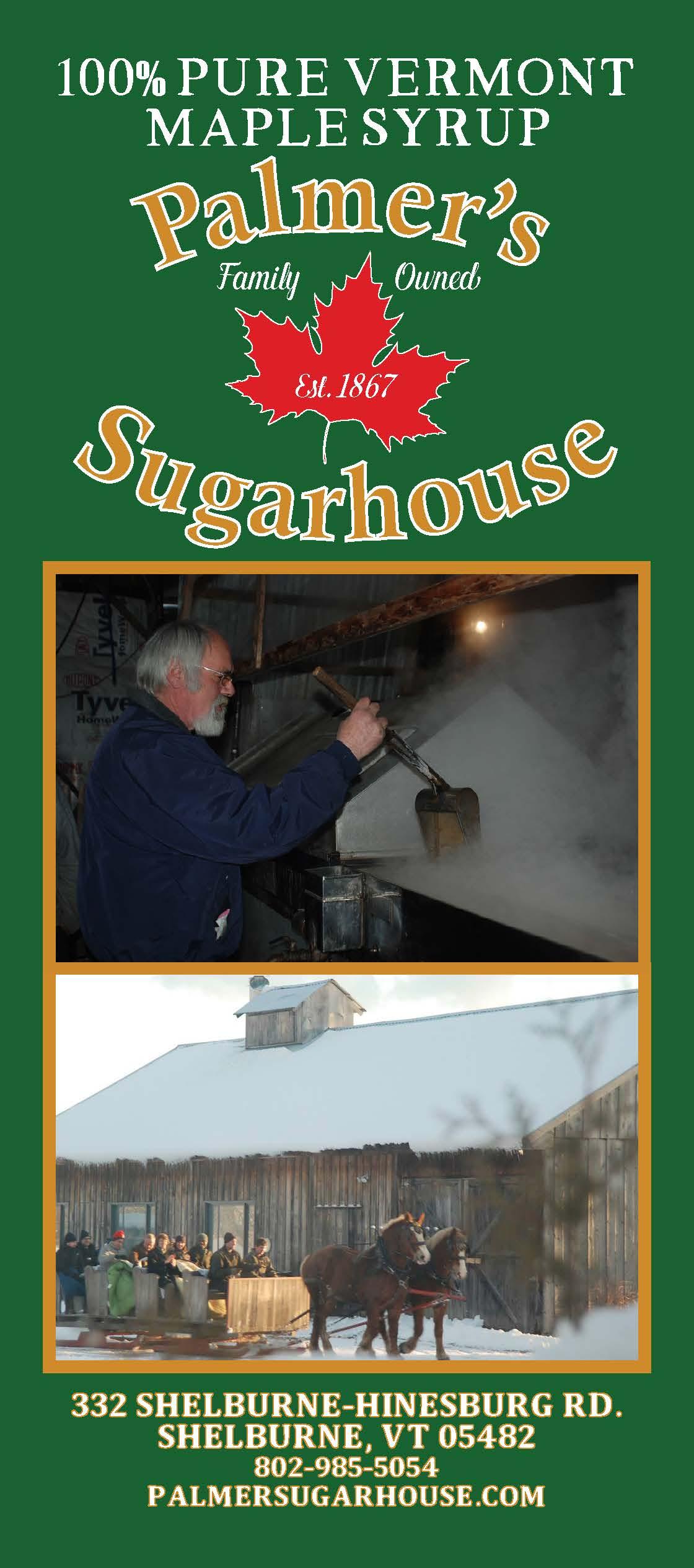 Palmer's Sugarhouse Rackcard front
